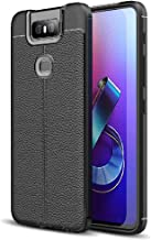 FINON Leather Design Model [ TPU ] for ASUS Zenfone 6 ZS630KL Case - Fingerprint Prevention Function and Lightweight Soft case, Shock Resistance, Easy desorption, Stylish Design - Black