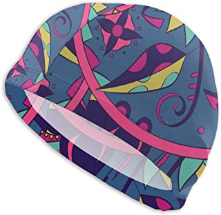 Smany Ethnic Illustration Colorful Doodle Adult Swim Caps,High Elasticity, No Deformation Use,UV Protection, Waterproof Comfy Swimming Bathing Cap for Men and Women