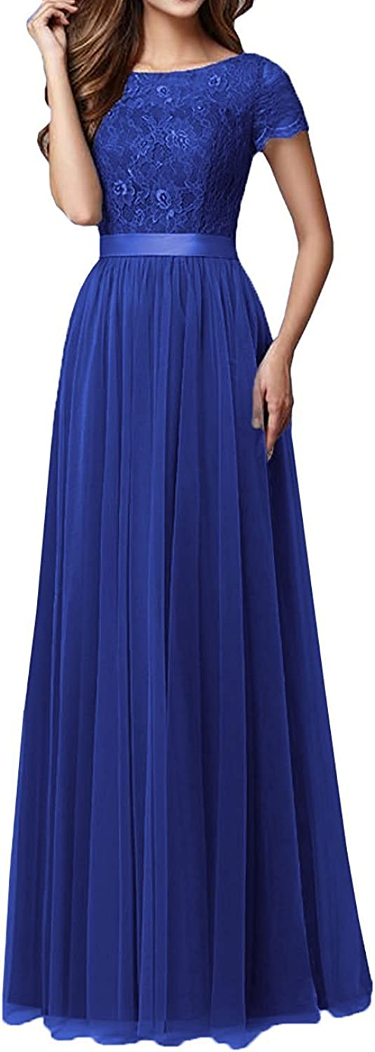 Anlin Women's Lace Bridesmaid Dress Sleeves Tulle Prom Evening Dresses AN151