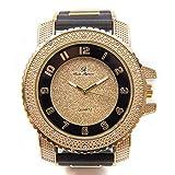 Bling-ed Out Men's Hip Hop Gold Tone Black Rubber Bullet Band Timepiece - 7758R Gold