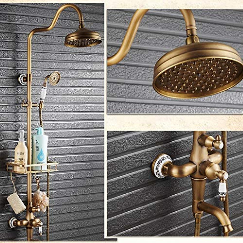 SISHUINIANHUA Retro Style Single Keramik Griffe Niederschlag 8 Dusche Wasserhahn Schwenk Wanne Auslauf mit Korb Lagerung Inhaber
