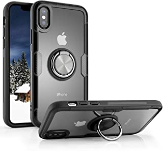 iPhone X Case/iPhone Xs Case, Aitour Transparent Crystal Clear Cover,Carbon Fiber Trim & Rubber Bumper, with 360° Rotating...