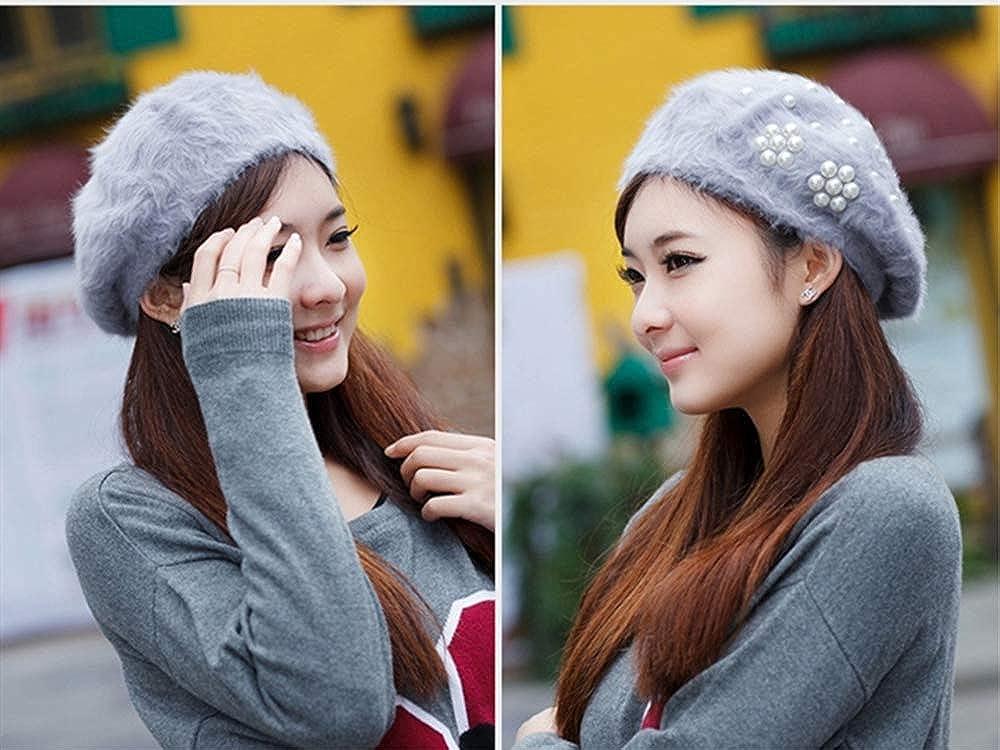 UU BEN Womens Berets Hat Rabbit Fur Beanie Ladies Winter Classic French Beret Caps for Women with Elegant Pearls