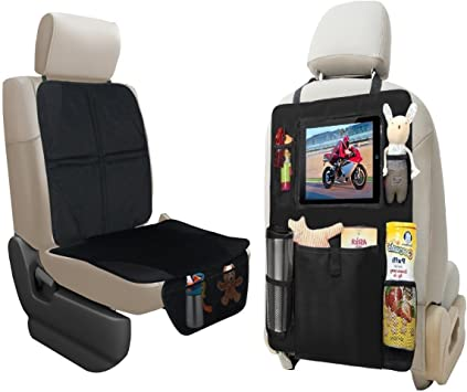 lebogner Car Seat Protector + Backseat Organizer with iPad and Tablet Holder, Durable Quality Seat Covers, 5 Pocket Storage Car Seat Back Organizer & Kick Mat Protector, Travel Accessories Organizer: image