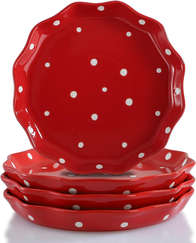 AVLA 4 Pack Porcelain Dessert Plates S Small Over item Limited price handling Appetizer 7.6 Inch