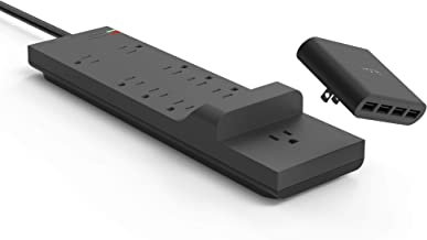 iHome Power Strip: AC Pro + Surge Protector - Outlet Extender with 9 AC Outlets, Detachable 4 Port 5.4A USB Wall Charger, 6 ft Extension Cord and 3,000 Joule Surge Protection, Black