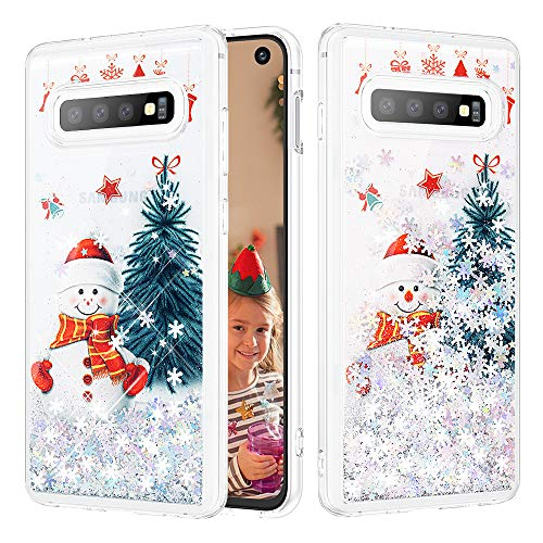 Caka Case for Galaxy S10 Glitter Case Christmas Luxury Fashion Bling Flowing Liquid Floating Sparkle Snowflake Glitter Soft TPU Case for Samsung Galaxy S10 (Snowman)