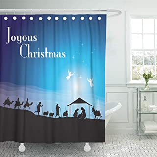 Cortina de baño Baño Impermeable Silueta Navidad Belén Jesús Familia Santo Sabio Pesebre Hombres Pastor Decoración para el hogar Tejidos de poliéster Juego de Ganchos Ajustables