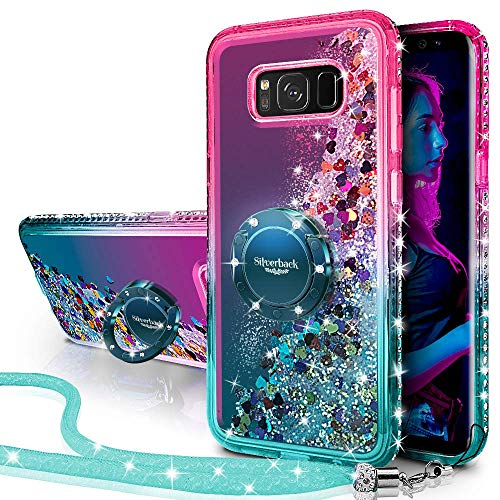 Miss Arts Funda Galaxy S8 Plus,[Silverback] Carcasa Brillante Purpurina con Soporte giratorios, Transparente Cristal Telefono Fundas Case Cover para Samsung Galaxy S8 Plus -Verde