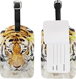 Art Tiger Leather Travel Luggage Baggage Tags Suitcase ID Labels(1pcs)