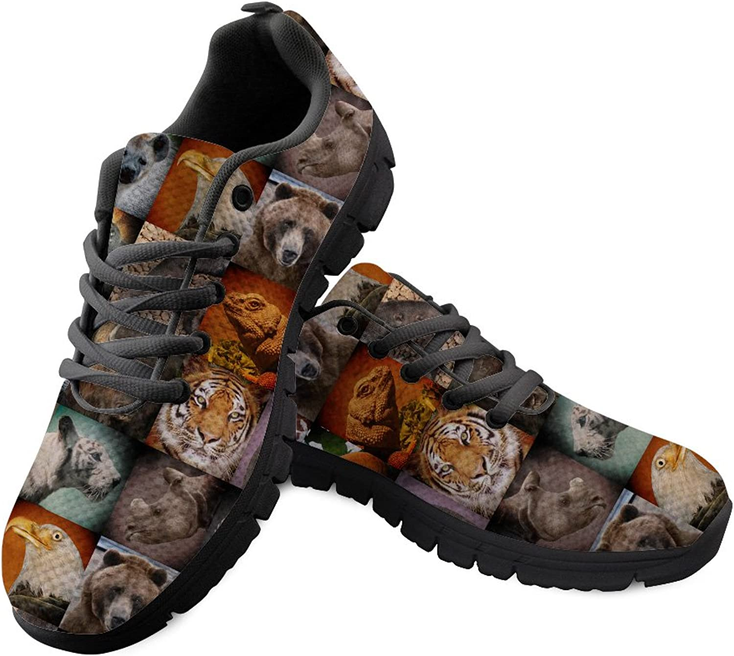 Chaqlin Womens Flat Running shoes Animals Pattern Non Slip Daily Walking Sneakers Size 44