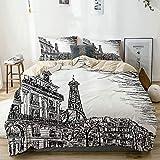 Popun Juego de Funda nórdica Beige, boceto de una Calle parisina con árboles y el Paisaje de la Famosa Ciudad de Eiffel, Juego de Cama Decorativo de 3 Piezas con 2 Fundas de Almohada