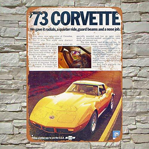 Snowae 1973 Corvette 3Metall Poster Wand rostfrei Aluminium wetterfest Dekor Home Wall Art Decor Retro Vintage Blechschild 30,5 x 20,3 cm