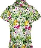 King Kameha Blusa hawaiana casual para mujer con botón frontal de bolsillo y estampado de flores de piña - gris - XX-Large
