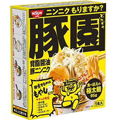 日清 豚園 背油醤油にんにくラーメン 即席めん 164g×16個(8個×2箱)