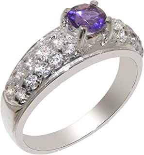 1bd9d1739 Solid 925 Sterling Silver Natural Amethyst & Cubic Zirconia Womens Band Ring  - Sizes J to