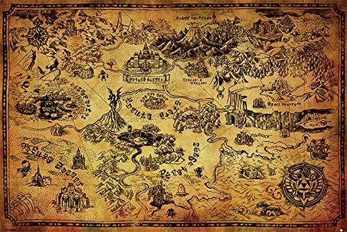 Die Legende von Zelda 'Hyrule Map' Maxi Poster, 61 x 91.5 cm