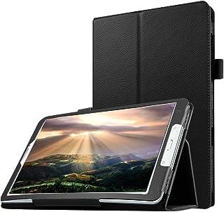 جراب تابلت YPshell من أجل نسيج ليتشي أفقياً بلون سادة مع حامل لجهاز Galaxy Tab E 8.0 / T377V