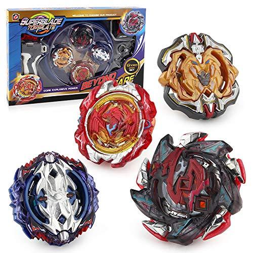 3T6B Bay Battling Tops mit Kampfkreisel Stadium Burst Top Metal Fusion Battle Attack Pack für Trägerraketen und Arena für Kinder Kinder Spielzeuggeschenk (4 PCS)