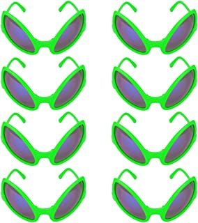 Ocean Line Alien Sunglasses – Weird Halloween Party Favors, Novelty Shades, Party Toys, Funny Costume Glasses Accessories for Kids & Adults (8-Pack Green)