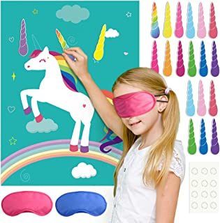 FEPITO Pin The Horn on The Unicorn Birthday Party Game with 24 Horns for Unicorn Party Supplies, Kids Birthday Party Decorations