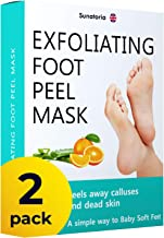 Improved Formula Exfoliating Foot Peel Mask by Sunatoria - Makes Your Feet Baby Soft - Peeling away Calluses and Dead Skin...