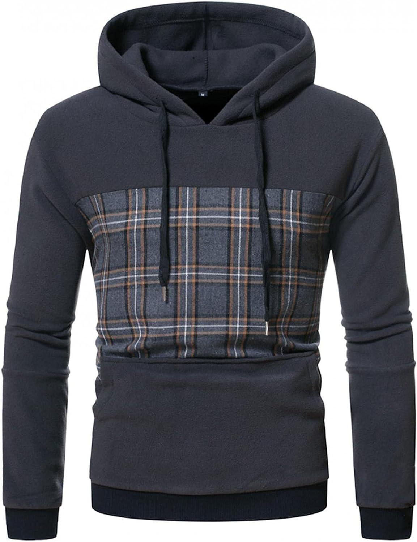 Hoodies for Men,Casual Splicing Fleece Hooded Sweatshirt Long Sleeve Plaid Athletic Hoodies Pullover with Pocket