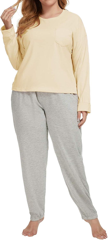 TOP-VIGOR Womens Plus Size Pajama Set 2Piece Long Sleeve Sleepwear Cotton Nightwear Solid Pjs Lounge Sets XL-3XL