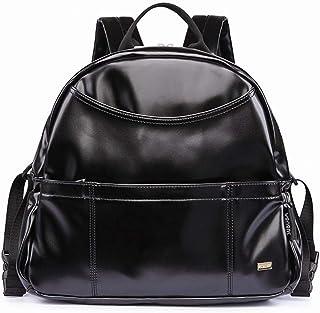 Redland Art New Fashion PU Black Diaper Backpack For Baby Large Capacity Waterproof Pockets Diaper Bag For Mother Travel Stroller Bag (Color : Black Set)