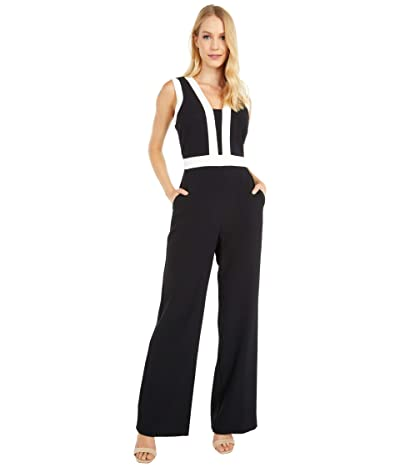 Vince Camuto Kors Crepe Color-Block Jumpsuit (Black/Khaki) Women