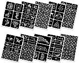 FEIGO 260 Stück Tattoo Schablonen Kit Wiederverwendbar Glitter Temporäre Tattoos Schablone Party Vorlagen für Körperbemalung Selbstklebende Tätowierung Sticker für Körper Henna (10...