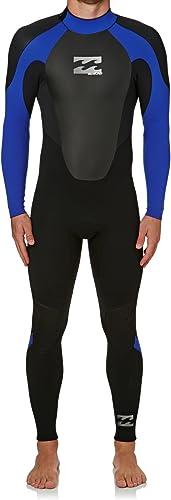 BILLABONG 2017 Intruder 4 3mm GBS Back Zip Wetsuit noir bleu O44M15 Wetsuit Tailles - Medium Tall