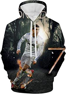 Gracece CRIS-tiano Ro-naldo Classic Men's Jacket Long Sleeves Pullover Drawstring Hooded 3 D Pattern Fleece Sweatshirt with Pocket White