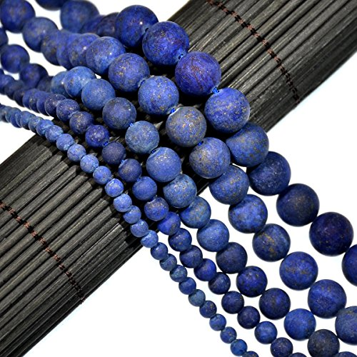 AD Beads Beautiful Natural Matte Gemstone Round Spacer Loose Beads 4-12mm (8mm, 06 Matte Lapis)