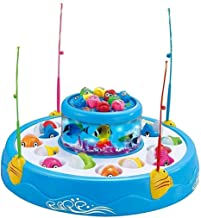 Vikas gift gallery Fishing Fish-Catching Game with 26 Pieces Fishes, 2 Rotary Ponds and 4 Pods with Music and Light Function (Multicolour)