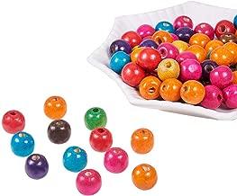 PandaHall – Juego de 50 cuentas de madera, sin plomo, teñidas, varios colores, 14 x 14 x 14 mm, agujero: 5 mm, multicolor