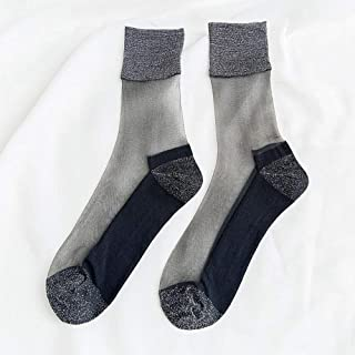 Spring and Summer Ultra-Thin Socks Gold and Silver Stockings -6 Pairs Stockings Glass Silk Tube Female Socks,Fully Breathable