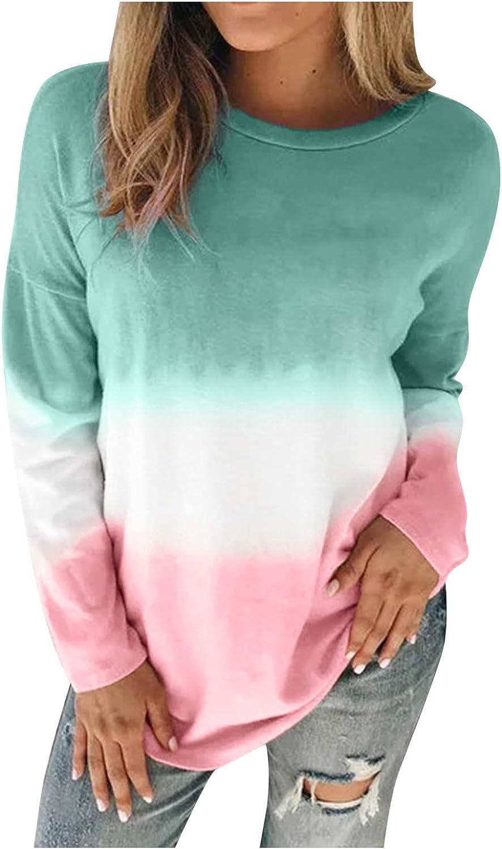 Sweatshirts for Women,Women Crew Neck Pullover Gradient Top Tie Dye Long Sleeve Comfy Blouse Sweatshirts