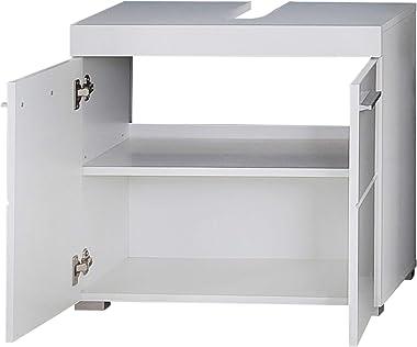 Trendteam Smart Living Meuble Sous-Vasque pour Salle de Bain Amanda, 60 x 56 x 34 cm en Blanc / Blanc Brillant avec Beaucoup