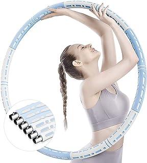 Hula Hoop Mogen Hula Hoop för viktminskning och massage Justerbar vikt Viktat 6 segment Avtagbar Hoola Hoop med stabil ros...