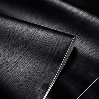 Black Wallpaper, Wood Peel and Stick Wallpaper, 17.71'' x 393.7'', Stick-on Wallpaper, Wall Paper Roll Peel and Stick, Rem...