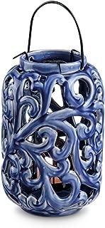blue ceramic lantern