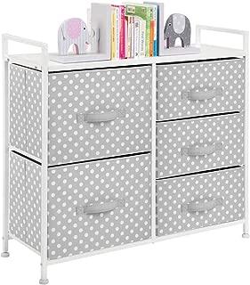 mDesign Wide Dresser 5 Drawers Storage Furniture - Wood Top, Easy Pull Fabric Bins - Organizer for Child/Kids Room or Nursery - Polka Dot Pattern, 32.6