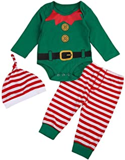 Christmas Outfits Infant Baby Elf Costume Long Sleeve Romper Pants Hat Costume Romper for First Christmas