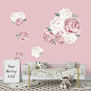 Supzone Peony Rose Wall Stickers Flower Wall Decor Wall Art Stickers for Bedroom Living Room Sofa Backdrop TV Wall Decoration