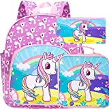 3PCS Toddler Backpack for Girls, 12.5' Unicorn Preschool Bag and Lunch Box Set