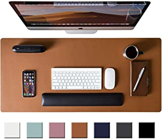 """Leather Desk Pad Protector,Mouse Pad,Office Desk Mat, Non-Slip PU Leather Desk Blotter,Laptop Desk Pad,Waterproof Desk Writing Pad for Office and Home (Brown,31.5"""" x 15.7"""")"""