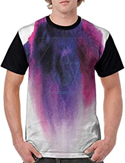 Casual T Shirts,Astrology,Geometric Alchemy Symbol Eye Sun Star Mystic Signs Spiritual Design,Fuchsia Navy Blue White S-XXL Female Baseball Top Tee