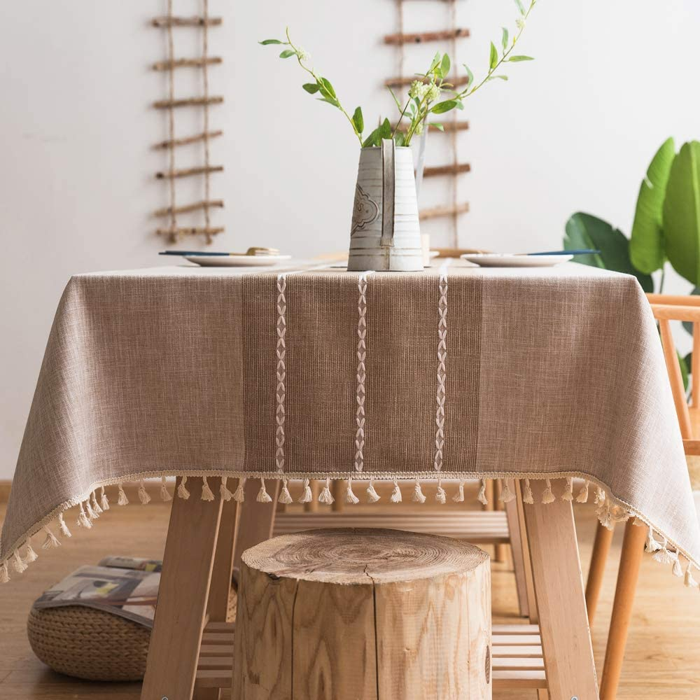Pahajim Linen Rectangle Tablecloth Table Max 56% OFF Overseas parallel import regular item Cloth Cott Weight Heavy
