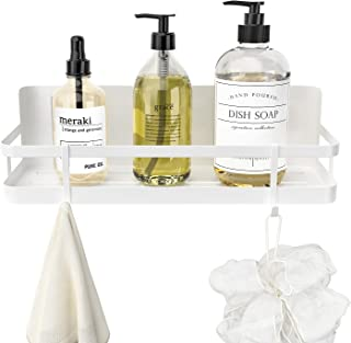Orimade マグネット バスルーム ラック 浴室ラック ホワイト お風呂洗面所キッチン収納壁 棚 フック付き 約W28 x D11x H8cm